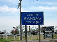 USA - Baxter Springs KS - Leaving Kansas Sign (15 Apr 2009)