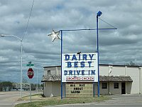 USA - Clinton OK - Dairy Best Drive In Sign (19 Apr 2009)