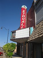 USA - Sayre OK - Abandoned Stovall Theatre Sign & Odd Symbols (20 Apr 2009)